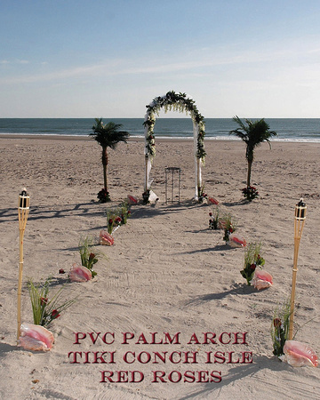PVC Palm Arch  Tiki Conch Isle  Red roses